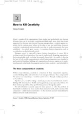 How to Kill Creativity - Amabile