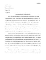 Shakespearean Study Abroad Final Essay