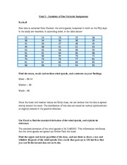 Unit 3 - One Variable Statistics