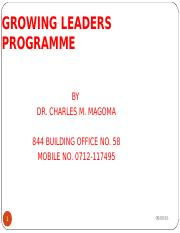 Module III - Growing Leaders Programme - Certificate In Leadership