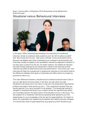 Situational versus Behavioural Interviews