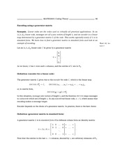 Lecture Notes on Using a Generator Matrix