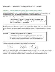 Section 12.1 Systems of Linear Equations in Two Variables