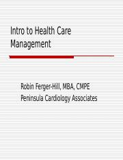 Intro to Health Care Management