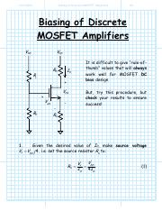 Biasing of Discrete MOSFET Amplifiers
