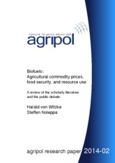 Biofuels - Agricultural commodity prices, food security and resource use