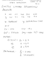 STATS 3N03 Simple Linear Regression ANOVA Notes