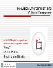 CCCH9017 Week 7 Television Entertainment Outline