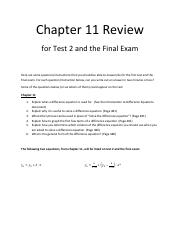 Review for Chapter 11