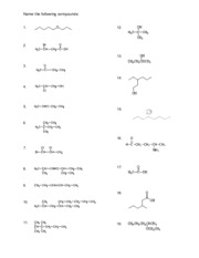 organic nomenclature worksheet1 - 2,4-dimethylpent-1-ene C H 3 CH ...