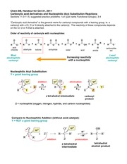 Handout on carboxylic acid derivatives and nucleophilic acyl substitution reactions