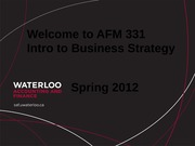 Welcome to AFM 331 2012