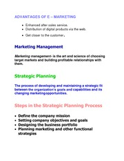 Principles of Marketing -Advantages of E-Marketing