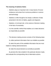 The meaning of statistics Notes