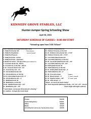 kennedy grove horse show prize list