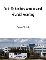 Topic 10 Auditors, Accounts and Financial Reporting