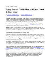 Going Beyond Cliche How to Write a Great College Essay