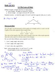 Math 113 -  The Law of Sines