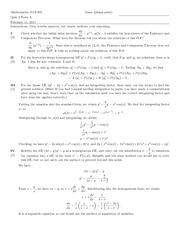 Quiz C Solutions on Introduction to Ordinary Differential Equations