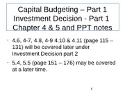 Capital Budgeting Part 1 - post