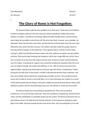The Glory of Rome is Not Forgotten.docx