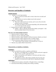 Lecture 5- Structure and Qualities of Attitudes