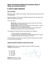 Common 3 Problem Solutions and Notes
