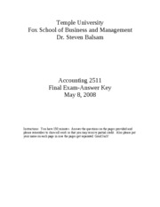 Accounting 2511-Spring 2008 -  final exam - answers