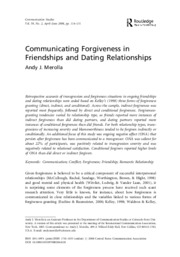 8 Communicating Forgiveness in Friendships and Dating Relationships