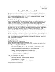History 4C Final Exam Study Guide