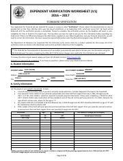 dependentverificationworksheet v1 2016 2017 dependent verification worksheet v1 2016 2017. Black Bedroom Furniture Sets. Home Design Ideas