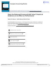 Does the Balanced Scorecard Add Value Empirical Evidence on its Effect on Performance