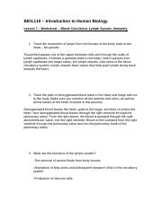 Human Biology BIOL 110 DLB FALL 2014 Worksheet 7 completed