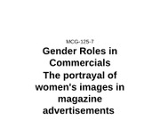 MCG 125-7 Gender Roles in Commercial
