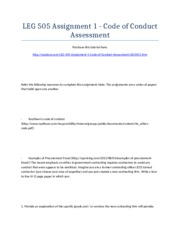 LEG 505 Assignment 1 - Code of Conduct Assessment - Strayer University NEW