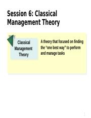 Session 6-Classical Management Theory MNGT 310
