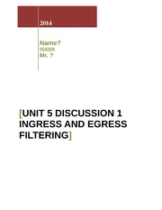 Unit 5 Discussion 1_Ingress and Egress Filtering