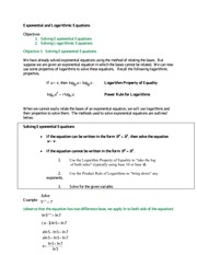 MAC 1105 Exponential and Logarithmic Equations