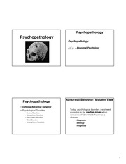 Lecture 36 - Psychopathology