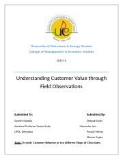 Understanding Customer Value through Field Observations- Group 13