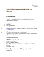 Role of Environment in Health and Disease Notes