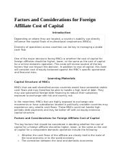 Factors and Considerations for Foreign Affiliate Cost of Capital.docx