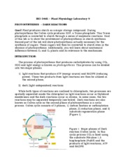 BIO 3465 - Laboratory 9 - Photosynthesis - Dark reactions