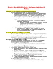 Chapter 11 and 12MB Inclusive Workplace Model Level 1 Notes