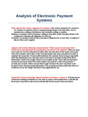 Analysis of Electronic Payment Systems