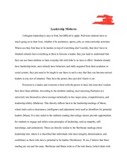 Collegiate Leadership Essay
