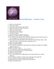 Student Info. Beach Ball Game- Teachers copy