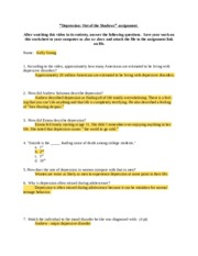 Depression Video Worksheet with Answers