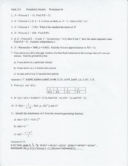 Worksheet 6-Poisson Dist, Generationg Functions