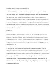 LAW FOR SMALL BUSINESS CASE PROBLEM.docx